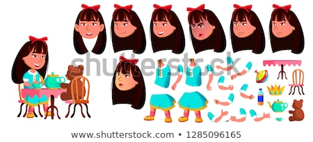 Asian Girl Kindergarten Kid Vector. Animation Creation Set. Face Emotions, Gestures. Little Children Stock photo © pikepicture