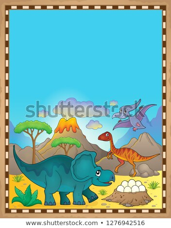 Dinosaur theme parchment 3 Stock photo © clairev
