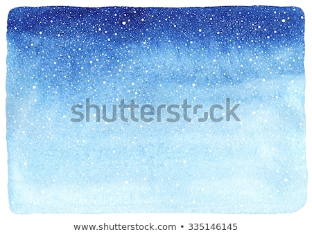 Stok fotoğraf: Suluboya · mavi · kar · taneleri · beyaz · el · boyalı