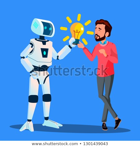Robot Gives Yellow Light Bulb To Businessman Vector. Isolated Illustration Stock photo © pikepicture