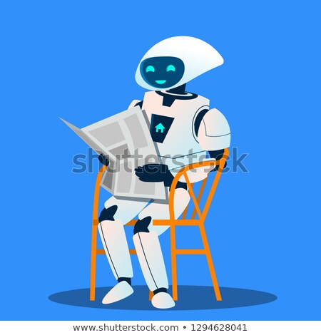 Robot Resting On Chair And Reading Newspaper Vector. Isolated Illustration Stock photo © pikepicture