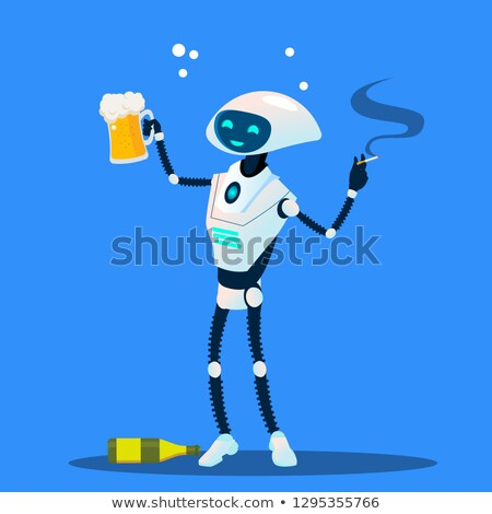 пьяный робота сигарету стекла пива вектора Сток-фото © pikepicture
