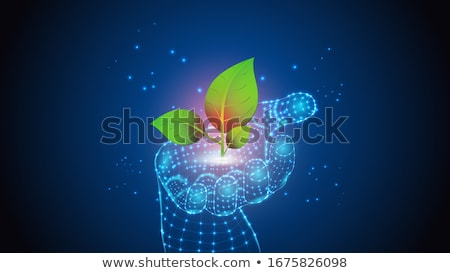 eco robot plants a green tree vector isolated illustration stock photo © pikepicture