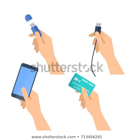 Villanás kártya női kéz fehér izolált Stock fotó © OleksandrO