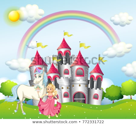 background scene with princess and unicorn at pink castle stock photo © colematt