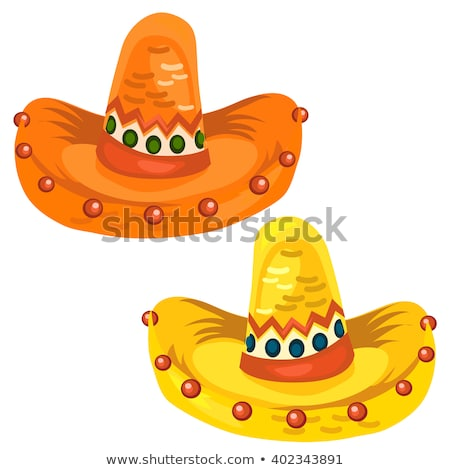 Mexican hat or sombrero isolated on white background. Vector cartoon close-up illustration. stock photo © Lady-Luck