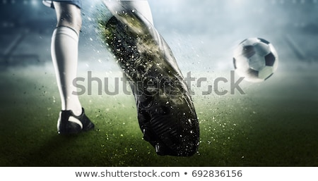 Stockfoto: 3d Soccer Player Shooting Ball