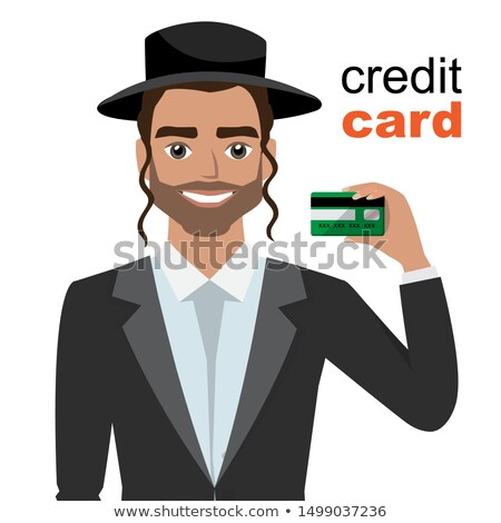 jewish man presenting vector cartoon isolated on white stock photo © nikodzhi