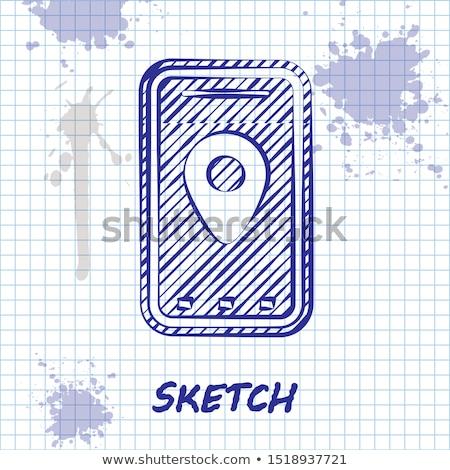 карта линия эскиз икона GPS знак Сток-фото © NikoDzhi