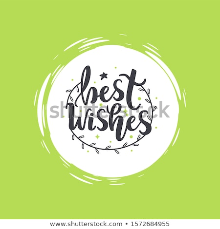 Best Wishes Lettering with Branch Wreath, Garland Stock photo © robuart