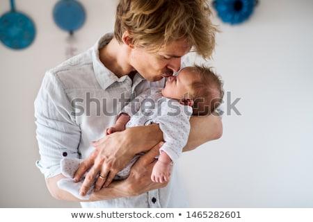 Apa csók kicsi baba lánygyermek család Stock fotó © dolgachov