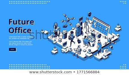 Interactiune izometrice 3D aterizare urias Imagine de stoc © RAStudio
