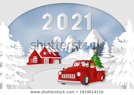 Foto stock: Family Holidays With Snowman And Sleigh Vector