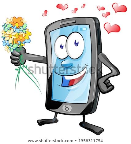 весело мобильных характер романтические цветы улыбка Сток-фото © doomko