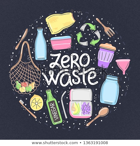 Vector hand drawn zero waste objects and lettering in round shape. Lifestyle. Save planet Stock photo © user_10144511