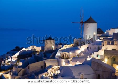 Stock fotó: Falu · éjszaka · Santorini · fények · megvilágított · sziget