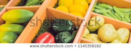 Plastic game, fake varied vegetables and fruits. Children food education toy BANNER, long format Stock photo © galitskaya