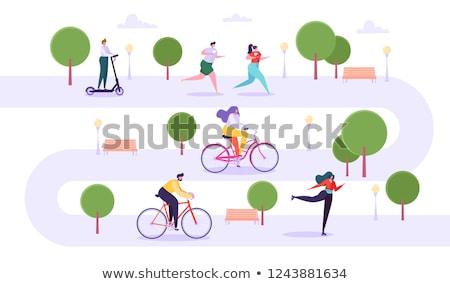 Mujer correr parque nina patear Foto stock © robuart