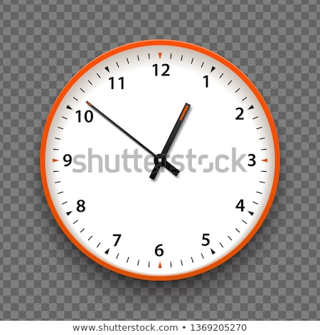 Orange and white wall office clock icon with numbers. Design template vector closeup. Mock-up Stock photo © Iaroslava