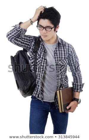 Genç adam çalışma basınç örnek Stok fotoğraf © lenm