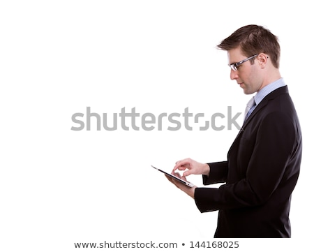 young business man touching tablet pc new technology stock photo © suriyaphoto