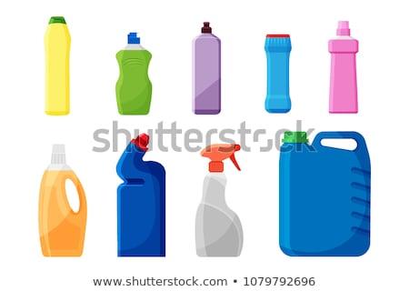 Műanyag üveg fehérítő mosószer szett vektor Stock fotó © pikepicture