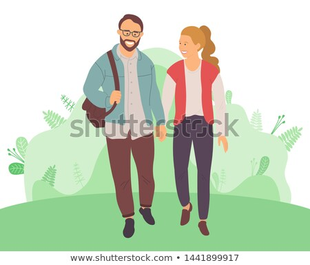 Bearded Man, Woman with High Tail Walk in Forest Stock photo © robuart