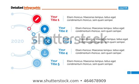Five Circles Points Diagram Slide Template, vector illustration isolated on white background Stock photo © kyryloff