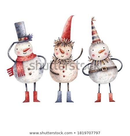 Cartoon doodles New Year illustration. Christmas funny artwork Stock photo © balabolka