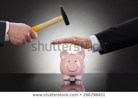 zakenman · spaarvarken · ernstig · hamer · pauze · zakenman - stockfoto © nito