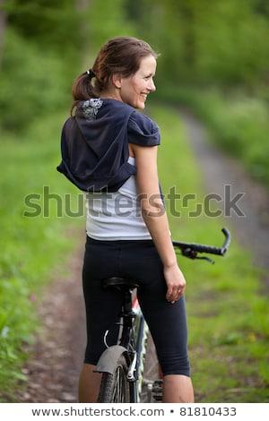 силуэта · велосипед · закат · горные · девушки - Сток-фото © lightpoet