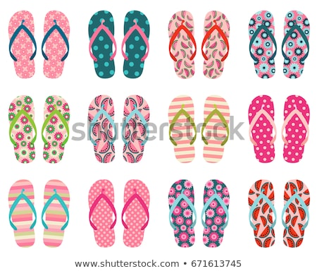 Colorful Vector Flip Flops With Stripes For Summer And Beach Holiday Designs Stockfoto © Pravokrugulnik