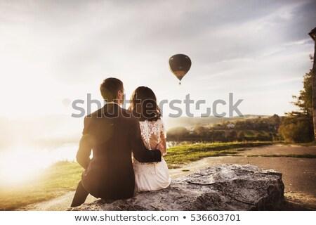 paar · zonsondergang · liefde · lucht · water · familie - stockfoto © ruslanshramko