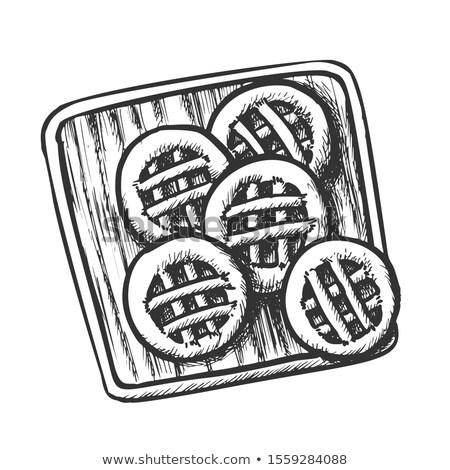 Cookies legno tagliere in bianco e nero vettore dolce Foto d'archivio © pikepicture