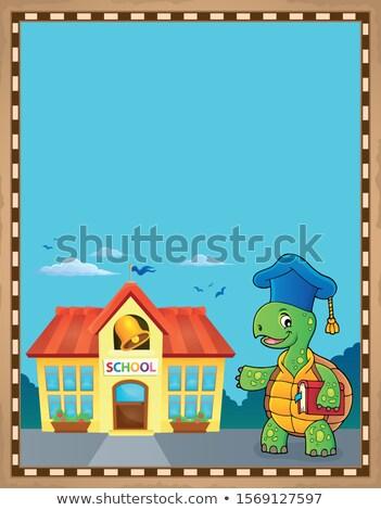 Teknős tanár pergamen papír könyv épület Stock fotó © clairev
