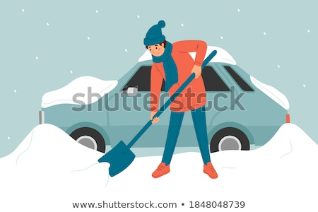 Guy cleans snow after snowfall Stock photo © jossdiim