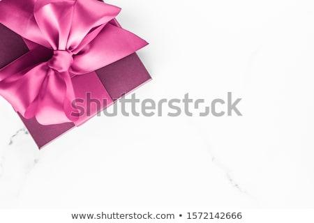 Różowy jedwabiu wstążka łuk marmuru dziewczyna Zdjęcia stock © Anneleven