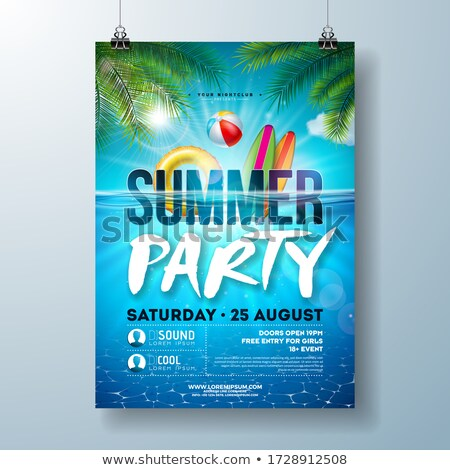 Vector Summer Night Beach Party Flyer Design With Tropical Palm Leaves And Float On Ocean Landscape Stok fotoğraf © articular