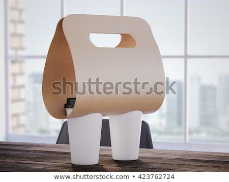 Papel pardo saco papel copo 3D Foto stock © djmilic