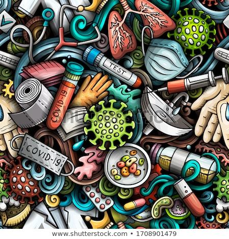 Virus and bacteria hand drawn doodles seamless pattern. Coronavirus background. Stock photo © balabolka