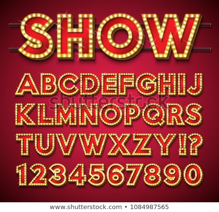 Broadway Fontset With Lamps Vector Illustration Stok fotoğraf © articular