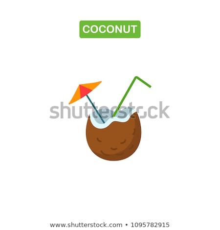 Kokosnoot drinken illustratie meisje strand Stockfoto © lenm