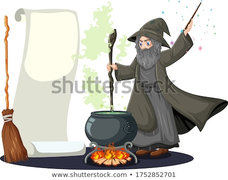 Old wizard with black magic pot and broomstick and blank banner  Stock photo © bluering