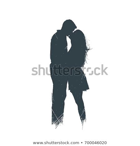 vintage · personnes · silhouettes · blanche · femme · couple - photo stock © sahua