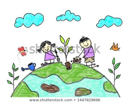 tekening · groene · aarde · kinderen · borstel · papier - stockfoto © romvo