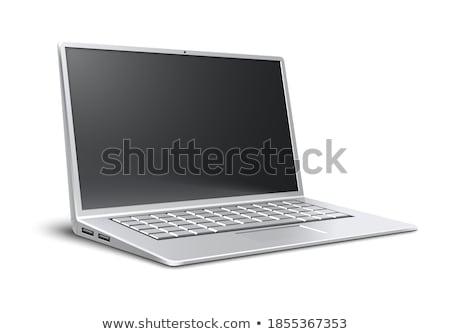 dizüstü · bilgisayar · yandan · görünüş · modern · beyaz · soyut · iş - stok fotoğraf © azamshah72