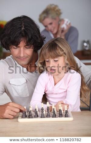 Apa játszik lánygyermek borsikafű gyermek asztal Stock fotó © photography33