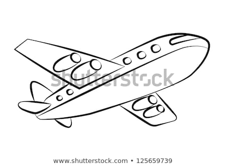 airplane black and white silhouettes vector illustration stock photo © leonido