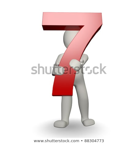 3D Human character holding number seven Stock photo © Giashpee