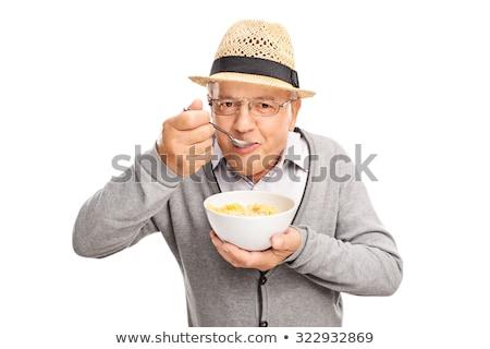 retrato · senior · homem · café · da · manhã · feliz · sessão - foto stock © backyardproductions